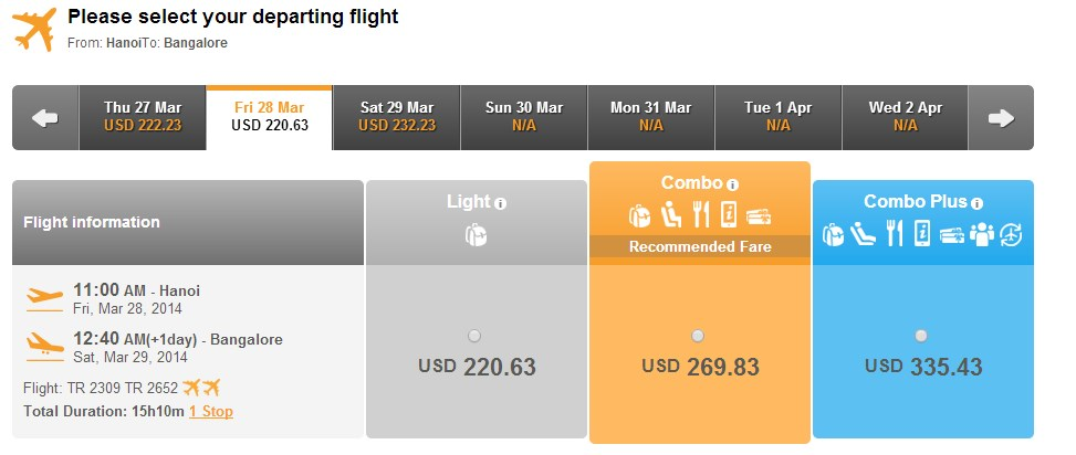Vé máy bay đi Bangalore
