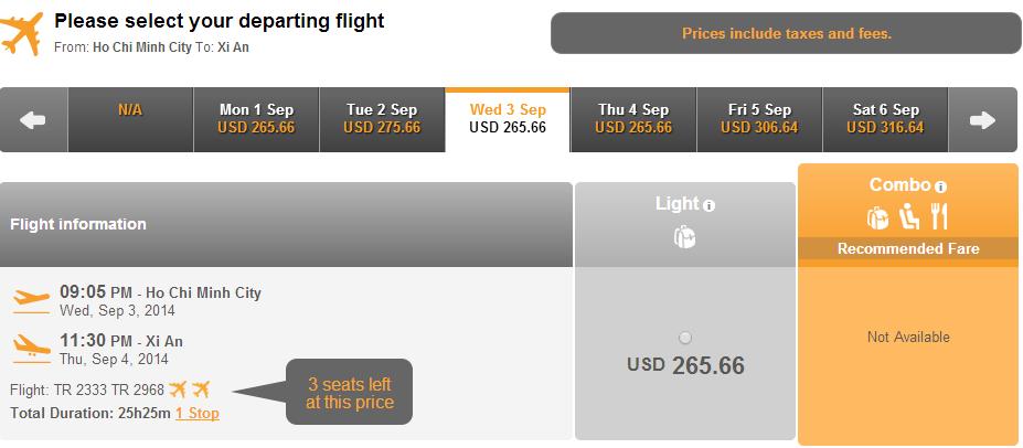 Vé máy bay đi Tây An giá rẻ